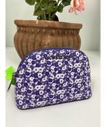 Michael Kors Cosmetic Bag Jet Set Amethyst Purple Small Flowers Dome Zip... - $58.79