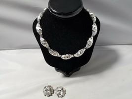 Trifari Signed Silver Tone Clip On Earrings & Coro Necklace Choker - $46.49