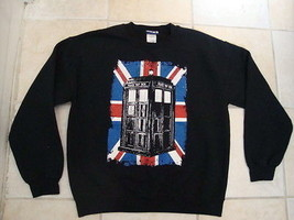 Dr Who Police Call Box BBC Medium Long Sleeve Black Crew Neck Sweatshirt - $22.46