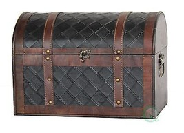 Wooden Leather Treasure Chest - $50.78