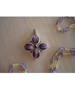 Glass Bead Necklace, Amethyst Catseye Bead Pendant - $6.99