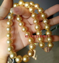"AAAAA 18""14-16mm Natural round south sea yellow golden pearl necklace 14... - $4,408.70"