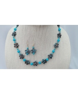 Antique Gold Blue Resin Flowers Howlite Necklac... - $36.99
