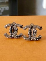 Authentic CHANEL Vintage Silver ColorStone Black Clip Earrings Coco HCE145 - $441.94