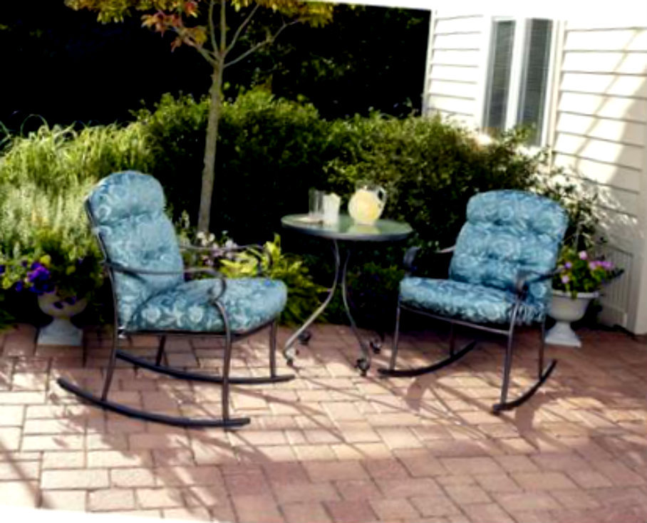 Outdoor bistro set 3 piece rocking table chairs poolside for Poolside table and chairs