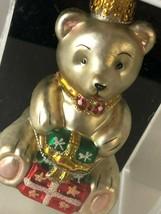 "Teddy Bear Glass Christmas Tree Holiday Ornament By Workbench 3.5"" - $14.00"