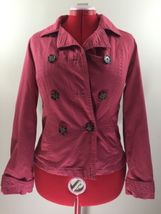 Merona Water Repellent Jacket Pink Button Down Double Sided Lined Womens... - $28.04