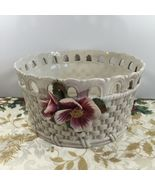 "Vintage Italian Ceramic Woven Backet Art Pottery Planter with Flowers 8""  - $46.74"