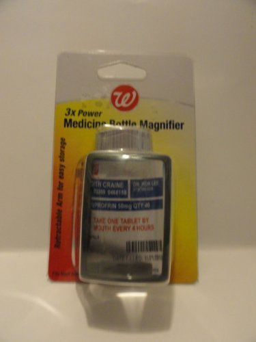 3x Power Medicine Bottle Magnifier - Retractable Arm for Easy Storage