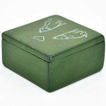 """Vaneal Group Hand Carved Kisii Soapstone Puppy Dog Love Green 3"""" Trinket Box image 3"""