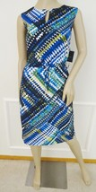 Nwt Ellen Tracy Sleeveless Belted Printed Sheath Dress Sz 10 Blue Geomet... - $49.45