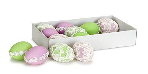 Pastel Purple Green Lace Easter Egg Ornaments Set of 12 [Kitchen]