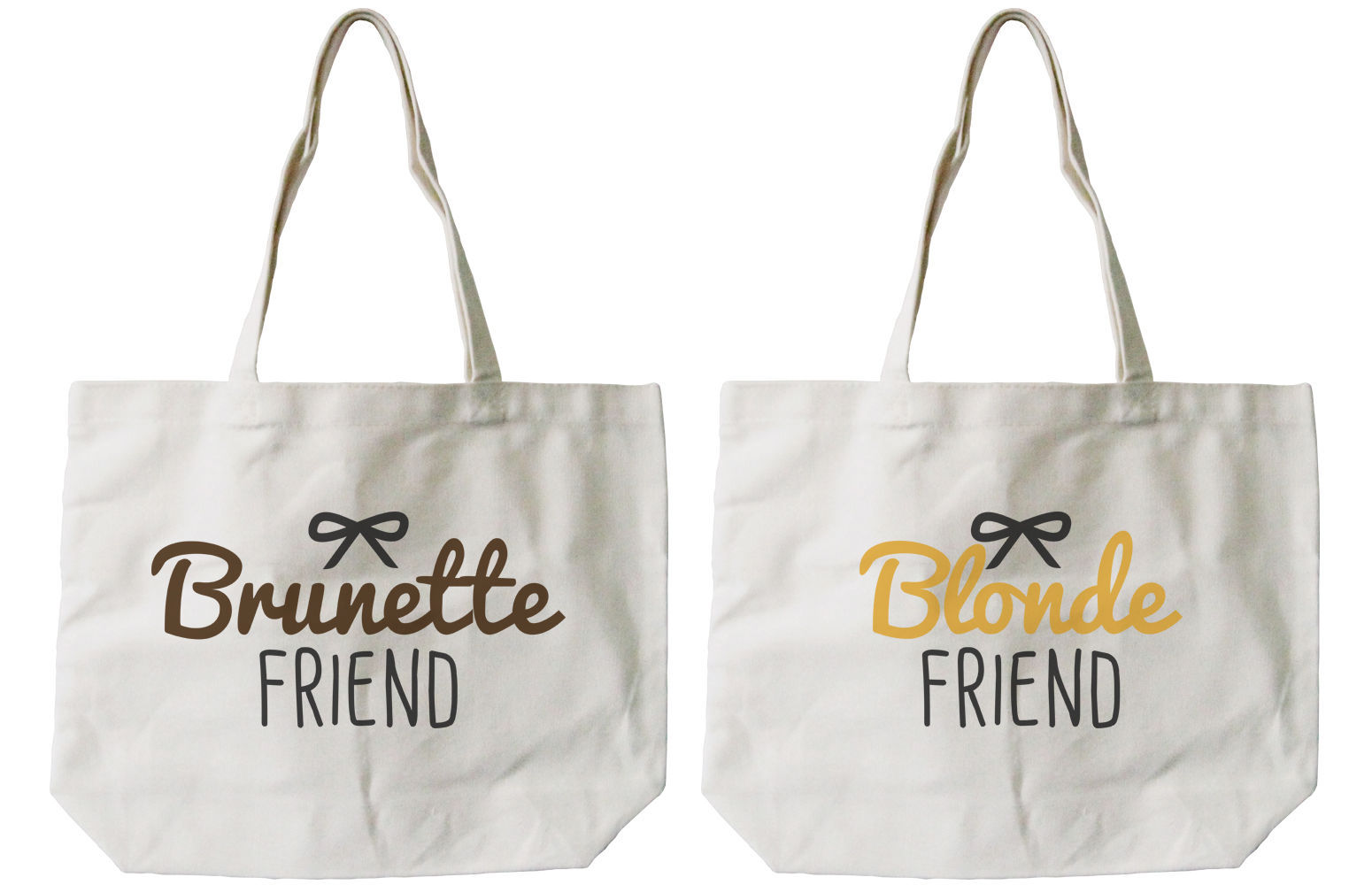 Brunette and Blonde Best Friend Cotton Canvas Tote Bags - Eco Bags, Book Bags
