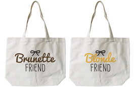 Brunette and Blonde Best Friend Cotton Canvas Tote Bags - Eco Bags, Book... - $41.19 CAD