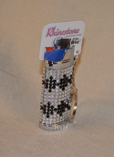Rhinestone Lighter Cover/Sleeve (for REGULAR BICs) White w/black (R1)