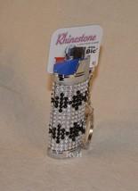 Rhinestone Lighter Cover/Sleeve (for REGULAR BICs) White w/black (R1)