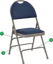 Best Heavy Duty Steel Triple Brace Metal Folding Chair Navy Fabric Padded Seat