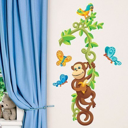 main street wall creations jumbo stickers monkey tree