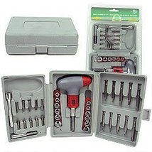 36 Piece Power Screwdriver Socket and Bit Set the Highlight Is the Ratchet, W...