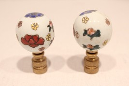 Pair of Beautiful Ball Porcelain Lamp Finial with Floral Design Multicolor - $27.71