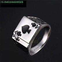 Men's Jewelry Chunky 18K White Gold Plated Black Enamel Spades Poker Ring Men...