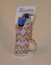 Rhinestone Lighter Cover/Sleeve (for REGULAR BICs) White w/pink chevrons (R9)