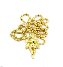 Angel Piece Charm Micro Pendant Ball Chain Necklace Jewelry Gold Plated ... - $12.77