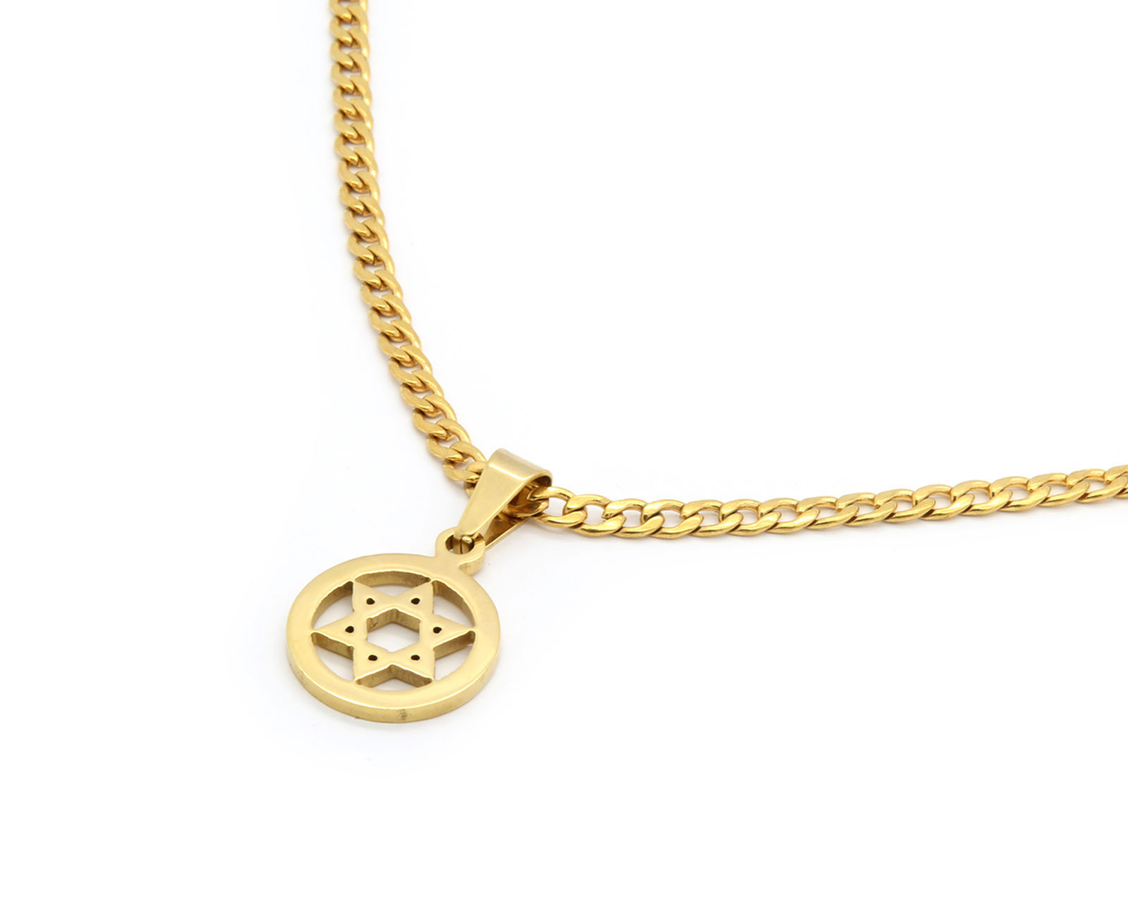 "14k Gold Tone Stainless Steel Circle Star David Pendant 24"" Cuban Necklace Chain"
