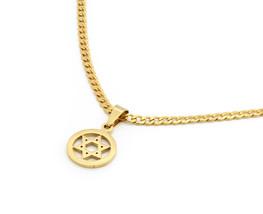 "14k Gold Tone Stainless Steel Circle Star David Pendant 24"" Cuban Neckla... - £14.19 GBP"