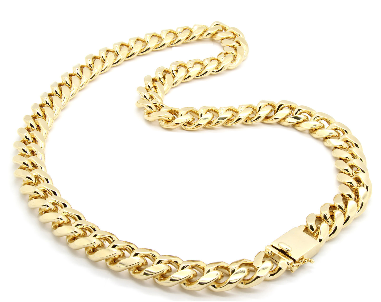 Mens 18mm 14k Gold Plated Heavy Thick Cut Hip Hop Necklace Cuban 30""