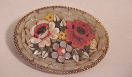 Victorian Micro Mosaic Flower Bouquet Pin Brooch - $65.00