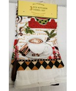 3 pc TOWELS SET, 2 Polycotton & 1 Microfiber, COFFEE CUP ON THE PLATE, S... - $13.85