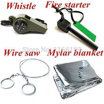 Outdoor Travel Emergency Survival Kit SOS (Whistle & Flint Fire Starter & Myl...