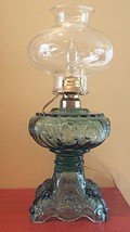 EAPG Pattern Rare Blue Green Princess Feather Glass Oil Lamp Electric Co... - $127.71