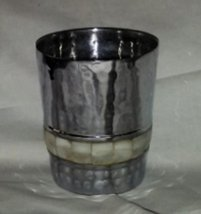Vintage Hammered Metal Cup with Mother of Pearl Inlaid - $24.00