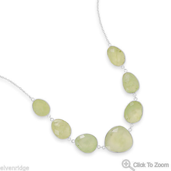 "18""+2"" Prehnite Necklace Sterling Silver"