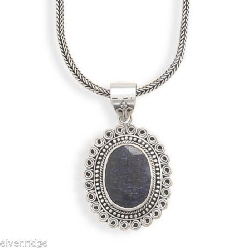 "17.5"" Oxidized Rough-Cut Sapphire Necklace Sterling Silver"