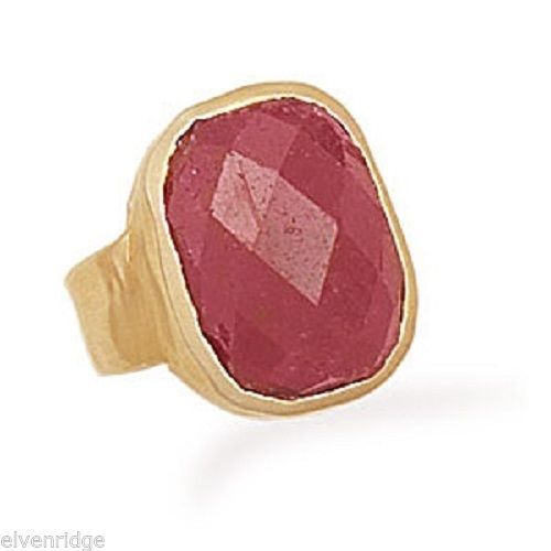 14 Karat Gold Plated Rough-Cut Ruby Ring Sterling Silver