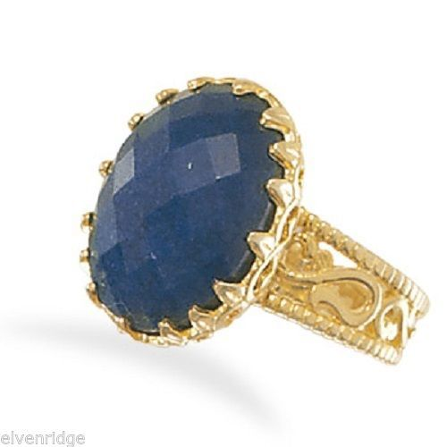 14 Karat Gold Plated Faceted Oval Rough-Cut Sapphire Ring Sterling Silver