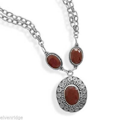 "16.5""+2"" Extension Double Strand Necklace with Rough-Cut Rubies Sterling Silver"