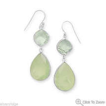 Green Amethyst and Prehnite Drop Earrings Sterling Silver