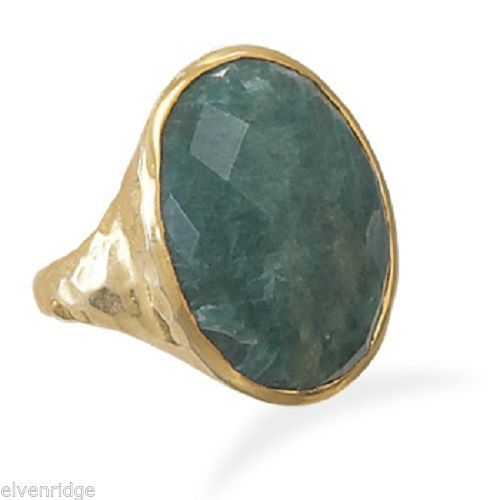 Hammered 14 Karat Gold Plated Rough-Cut Emerald Ring Sterling Silver