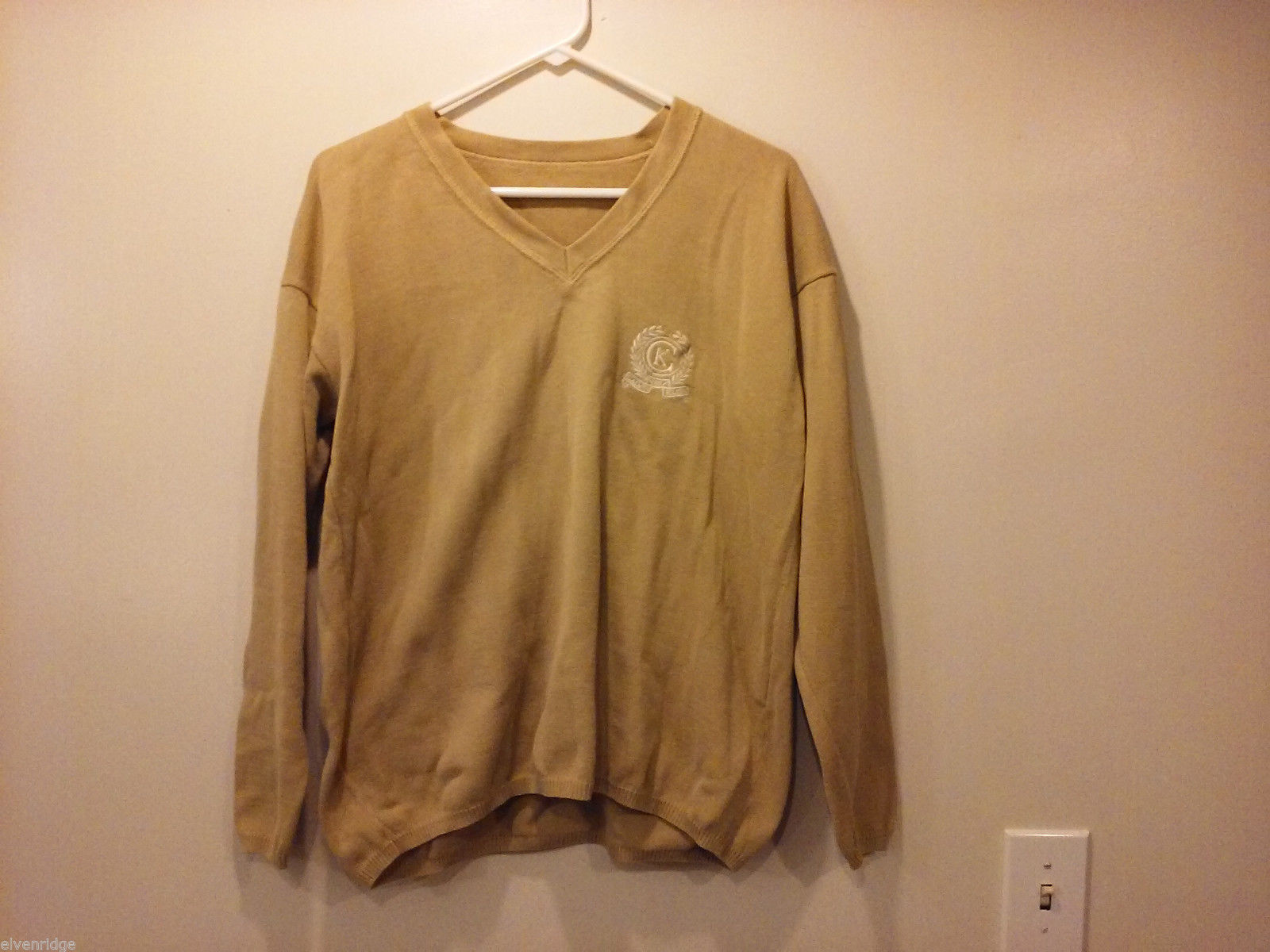 Calvin Klein Mens Size XL Sweater Heavy Knit Beige V-Neck Embroidery Logo Detail