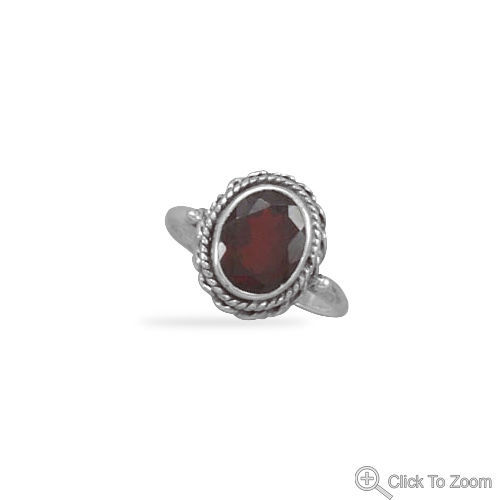 Faceted Garnet Ring with Rope Edge Sterling Silver