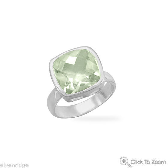 Faceted Green Amethyst Ring Sterling Silver