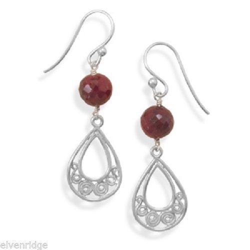 Faceted Ruby Drop Earrings sterling Silver