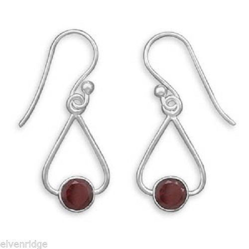 French Wire Earrings with Triangle Shape and Round Garnet Drop Sterling Silver