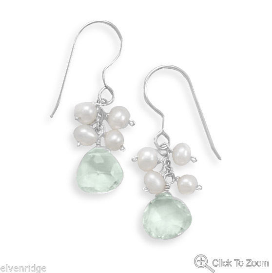 Green Amethyst and Cultured Freshwater Pearl French Wire Earrings Silver