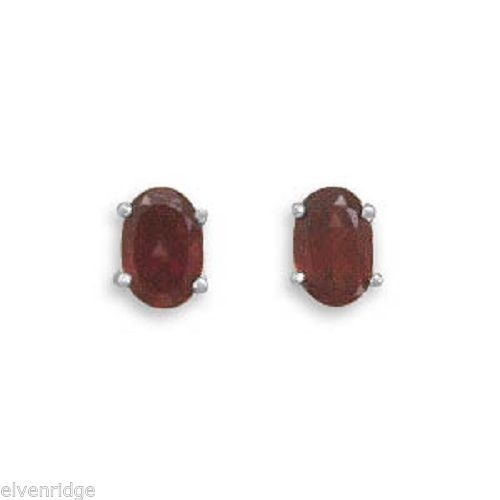 Oval Garnet Earrings Sterling Silver