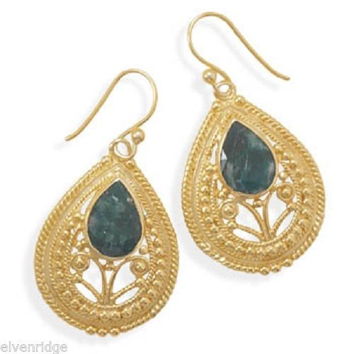 Ornate 14 Karat Gold Plated Rough-Cut Emerald Earrings Sterling Silver Base